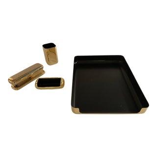 Mid-Century Modern Gold-Plated Desk Set -Set of 4 For Sale