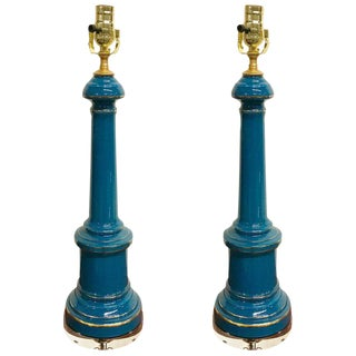 Celeste Blue Opaline and Lucite Lamps - a Pair For Sale