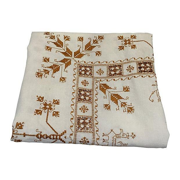 Hand-Embroidered French Linen Tablecloth - Image 1 of 4
