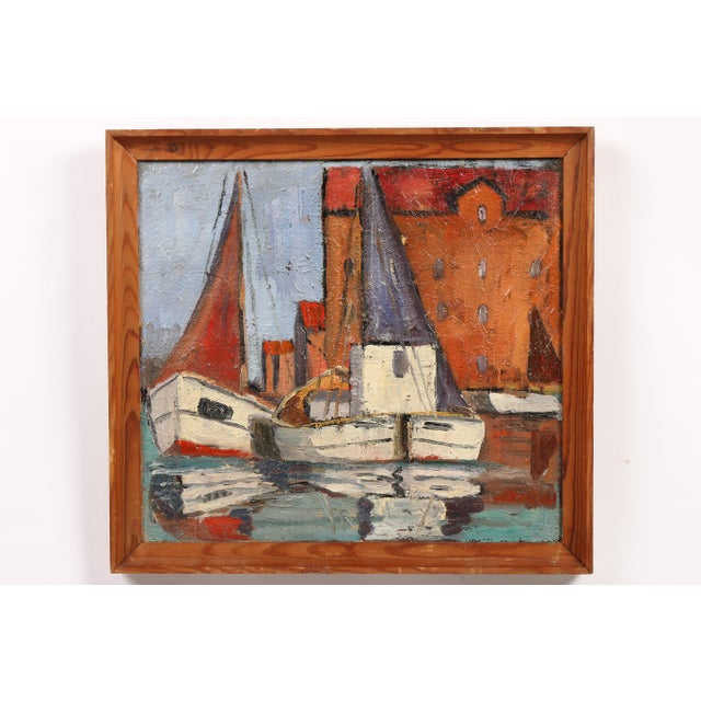 Oil on canvas painting from Denmark depicting two sailboats readying for departure.