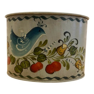 Blue Painted Rosemaled Catchall by H. Zagnodnik For Sale