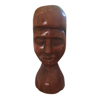 American Folk Art Carved Wood Bust Sculpture For Sale