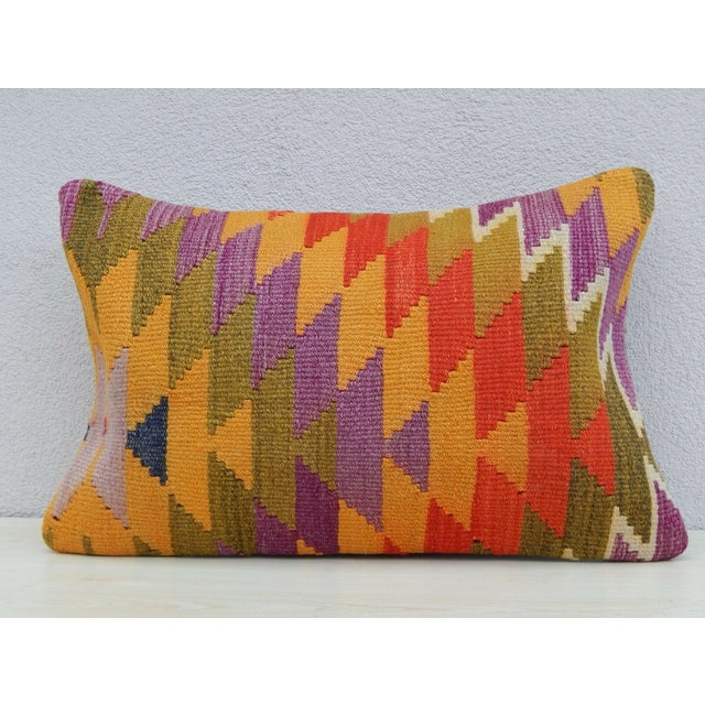 Vintage Turkish Kilim Lumbar Pillow For Sale In Dallas - Image 6 of 6
