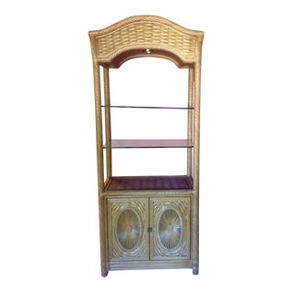 1970s Boho Chic Rattan Bookcase For Sale