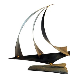 Mid-Century Brutalist Sailboat Sculpture by Joe Baisuck