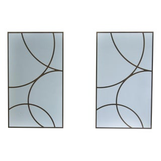 Rectangle Metal Framed Wall Mirrors - a Pair For Sale