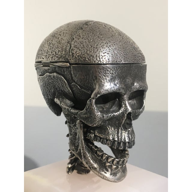 Silver Cast Silver Articulated Model of a Skull with Removeable Brain For Sale - Image 8 of 10
