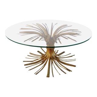 "Italian Gilt Iron ""Coco Chanel"" Style Wheat Sheaf Coffee Table"
