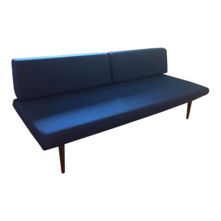 Vintage Mid Century Modern Style Blue Sofa For Sale