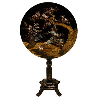 19th-C. French Papier Mache Chinoiserie Tilt Top Table For Sale
