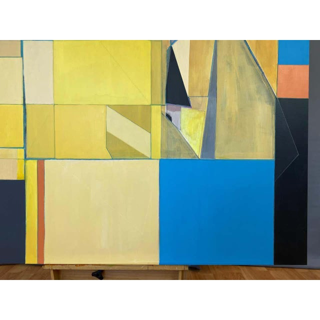 """Canvas Robert English """"Etheric Double"""", Large Abstract Cubist Painting, 1994-1995 For Sale - Image 7 of 13"""