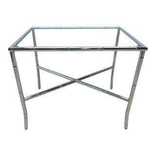 French Regency Chrome Faux Bamboo Side Table