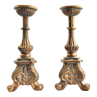 Rustic Weathered Brass Aged Patina Pillar Candle Stands - a Pair