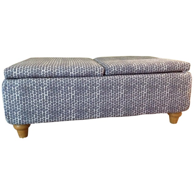 Navy Ikat Storage Ottoman For Sale