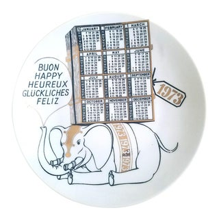 Piero Fornasetti Porcelain Calendar Plate for the Year 1973. For Sale