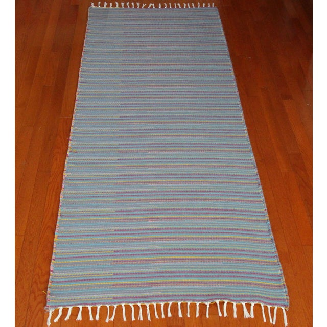 "Flat Weave Wool Striped Blue Kilim Rug - 2'8"" x 7'6"" - Image 3 of 10"