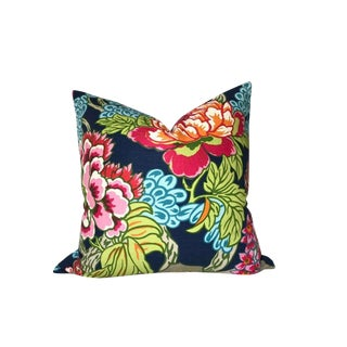 Asian Style Thibaut Honshu Floral Navy Pillow Cover For Sale