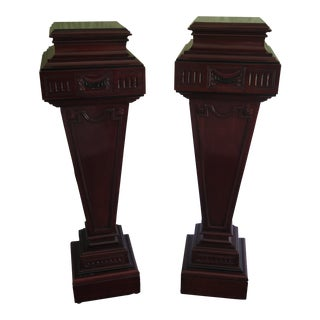 English Adam Style Mahogany Pedestals-A Pair For Sale