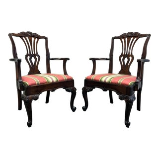 Hekman Marsala Oak French Country Dining Captain's Arm Chairs - Pair For Sale