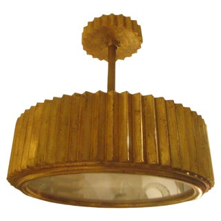 Custom Giltwood Hand-Carved Fixture in the Art Deco Manner For Sale