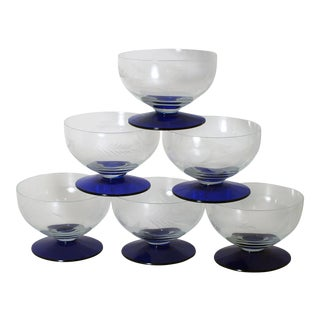1940s Americana Weston Glass Co. Cobalt Blue Footed Cut Crystal Cups - Set of 6