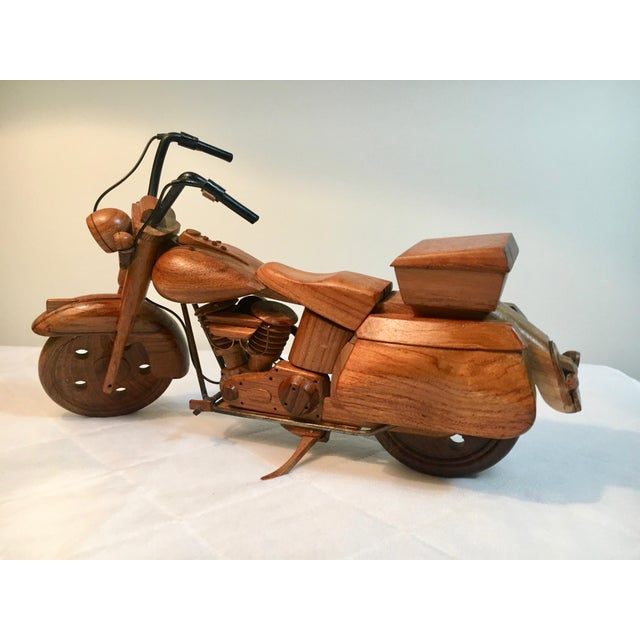 Mid-Century Modern Wooden Model Motorcycle Replica For Sale In Los Angeles - Image 6 of 9