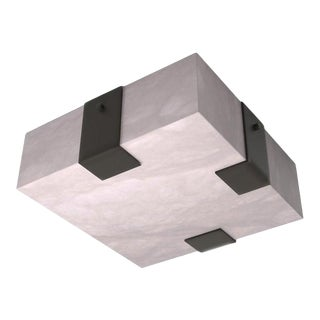 Contemporary 002A-3C Flush Mount in Alabaster and Black by Orphan Work For Sale