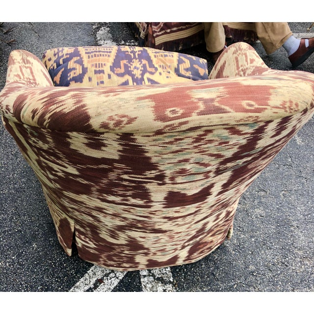 2010s Custom Made Ikat Print Club Chair For Sale - Image 5 of 7