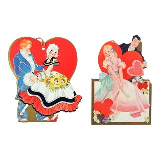 Vintage Art Deco Valentine Bridge Tally Cards - a Pair For Sale