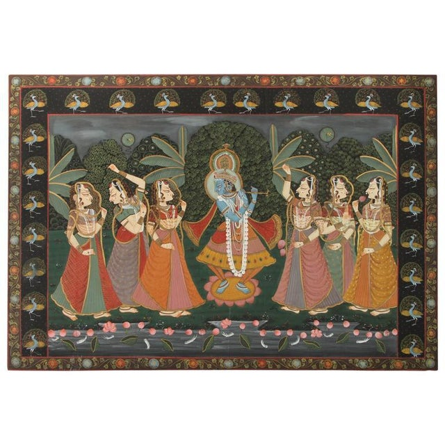 Large Pichhavai Painting of Krishna With Female Gopis Dancing For Sale - Image 10 of 10