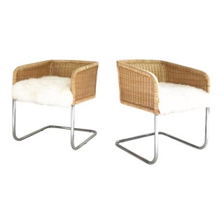 Woven Chairs with Sheepskin Cushions - A Pair