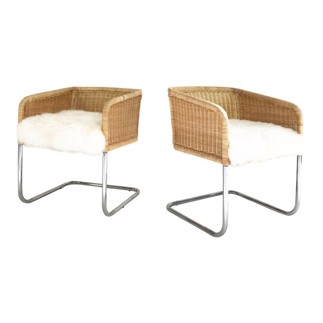 Woven Chairs with Sheepskin Cushions - A Pair - Image 1 of 8