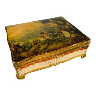Vintage Florentine Gilt Jewelry Box Watteau Designs For Sale