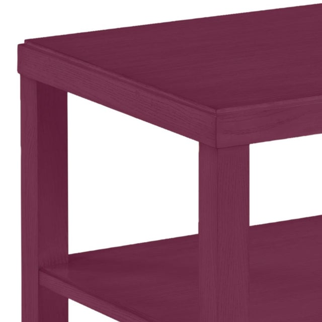 This is a made to order item with a 6-8 week leadtime. The color is Benjamin Moore Grape Juice.A rectangular top rests...