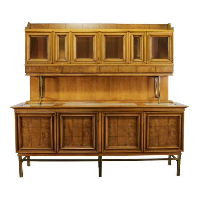 Mid Century Modern Credenza With Hutch Attributed to J. L. Metz Contempora Line For Sale