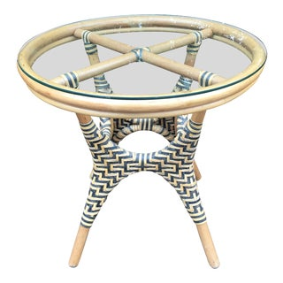 Vintage Mid-Century Woven Rattan Bamboo Glass Top Side Table For Sale