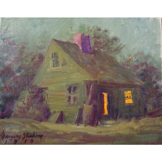 """Cottage """"Cottage in the Moonlight"""" Vintage Oil Painting Margery (Stocking) Hart California/Connecticut Artist For Sale - Image 3 of 3"""