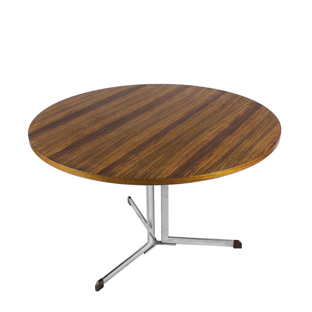 1950s Round Table, Nickel-Plated Steel and Zebra Wood Veneer - Italy For Sale - Image 4 of 7