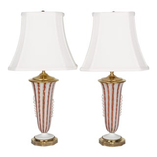 Murano Avem Latticino Glass Lamps with Shades - a Pair For Sale