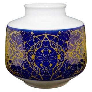Modernist Brutalist Small Round Vase With Cobalt Blue & Gold For Sale
