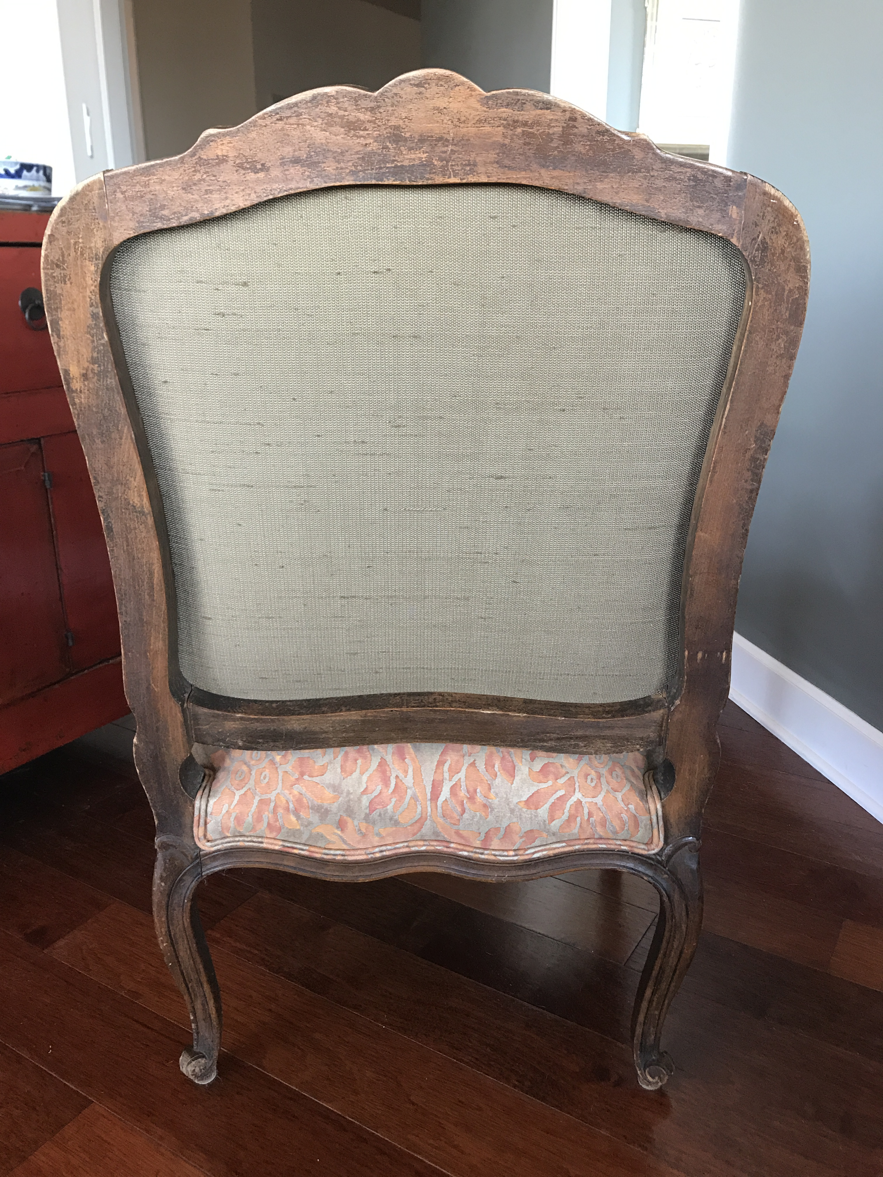 French Bergere Chairs With Fortuny Fabric   A Pair   Image 4 Of 9