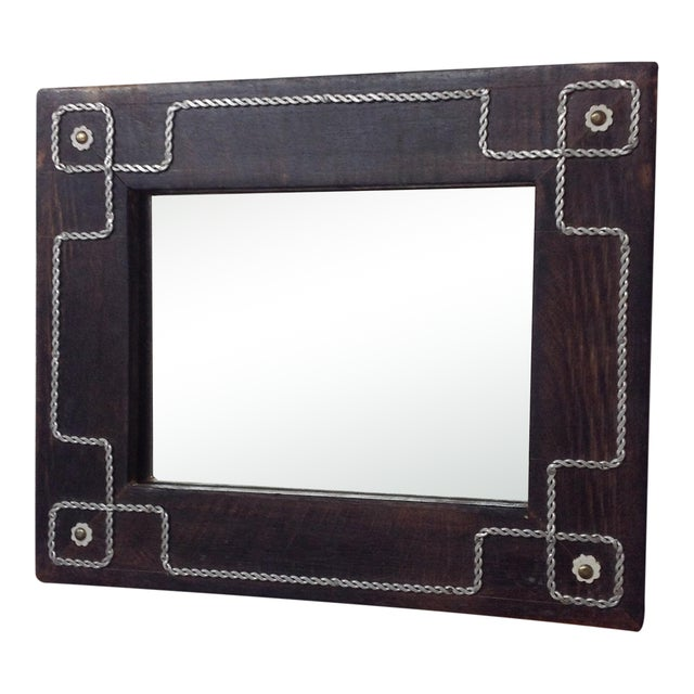 Antique Folk Art Wall Mirror For Sale
