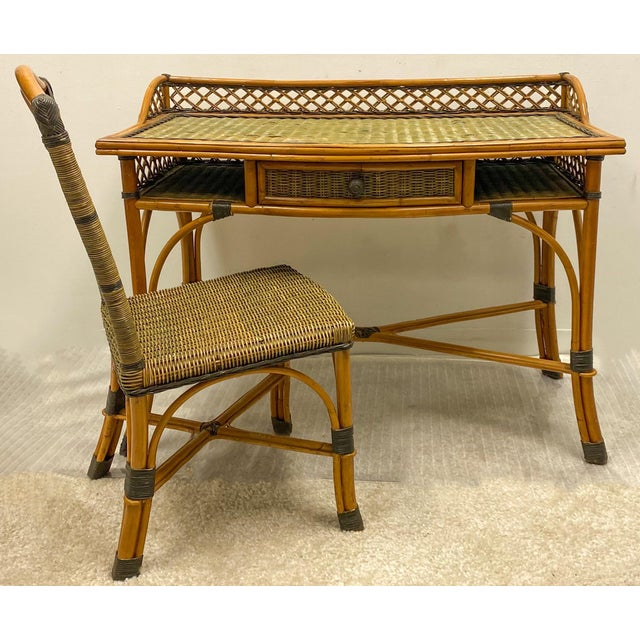 1970s Vintage French Rattan and Wicker Desk & Chair by Grange For Sale - Image 5 of 5