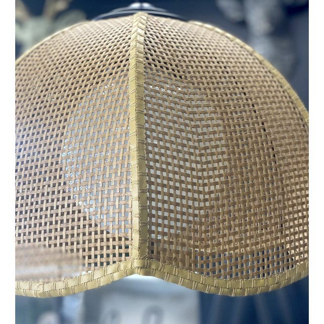Vintage Late 20th Century Wicker Scalloped Pendent Ceiling Light For Sale - Image 4 of 6
