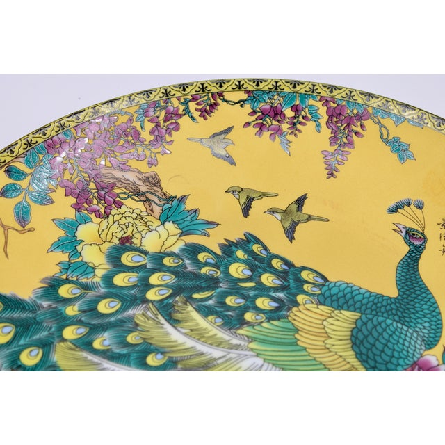 Vintage Asian Modern Canary Yellow Ceramic Peacock Charger For Sale - Image 10 of 12