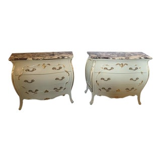 Paint Decorated Marble Top Chests- A Pair