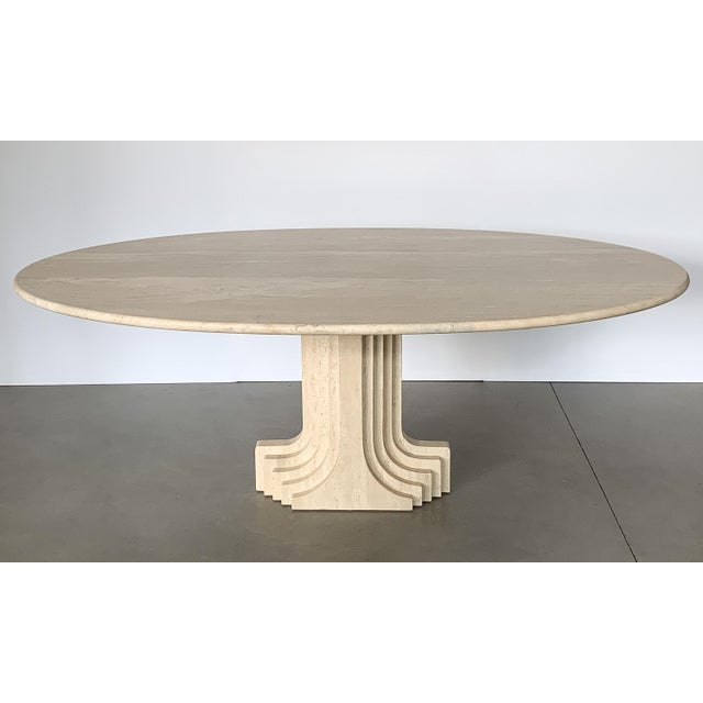 "Mid-Century Modern Carlo Scarpa ""Samo"" Oval Travertine Pedestal Dining Table For Sale - Image 3 of 13"