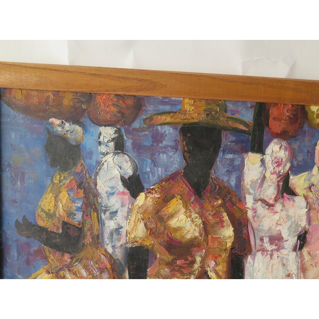 """Abstract 1960s Abstract Oil Painting on Canvas, """"Jamaican Ladies"""" For Sale - Image 3 of 6"""