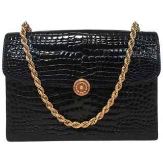 Gucci Vintage Black Alligator Handbag For Sale
