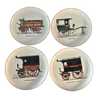 1970s Vintage Camions French Auto Dessert Plates- 4 Pieces For Sale